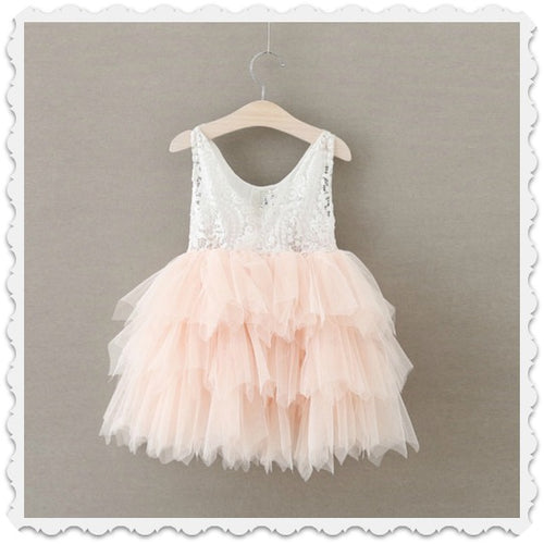 Pink or Mint Lace Over Tulle Dress