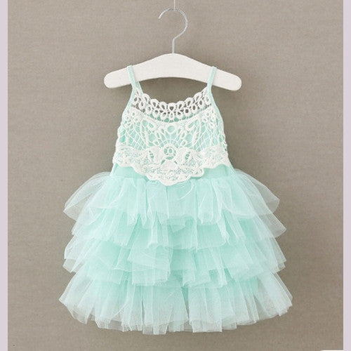 Teal lace girl tulle dress for birthday and parties