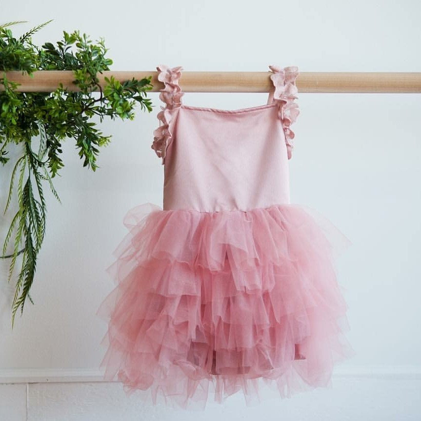 pink tutu dress for girls and toddlers tiered tulle dress