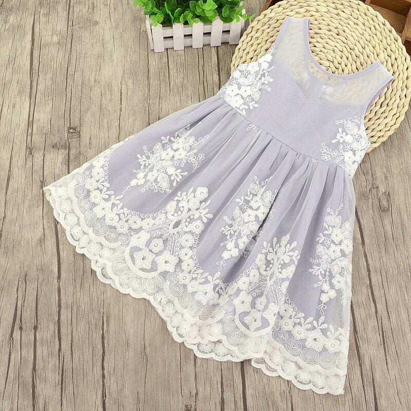 Girl lace lavender and grey dress