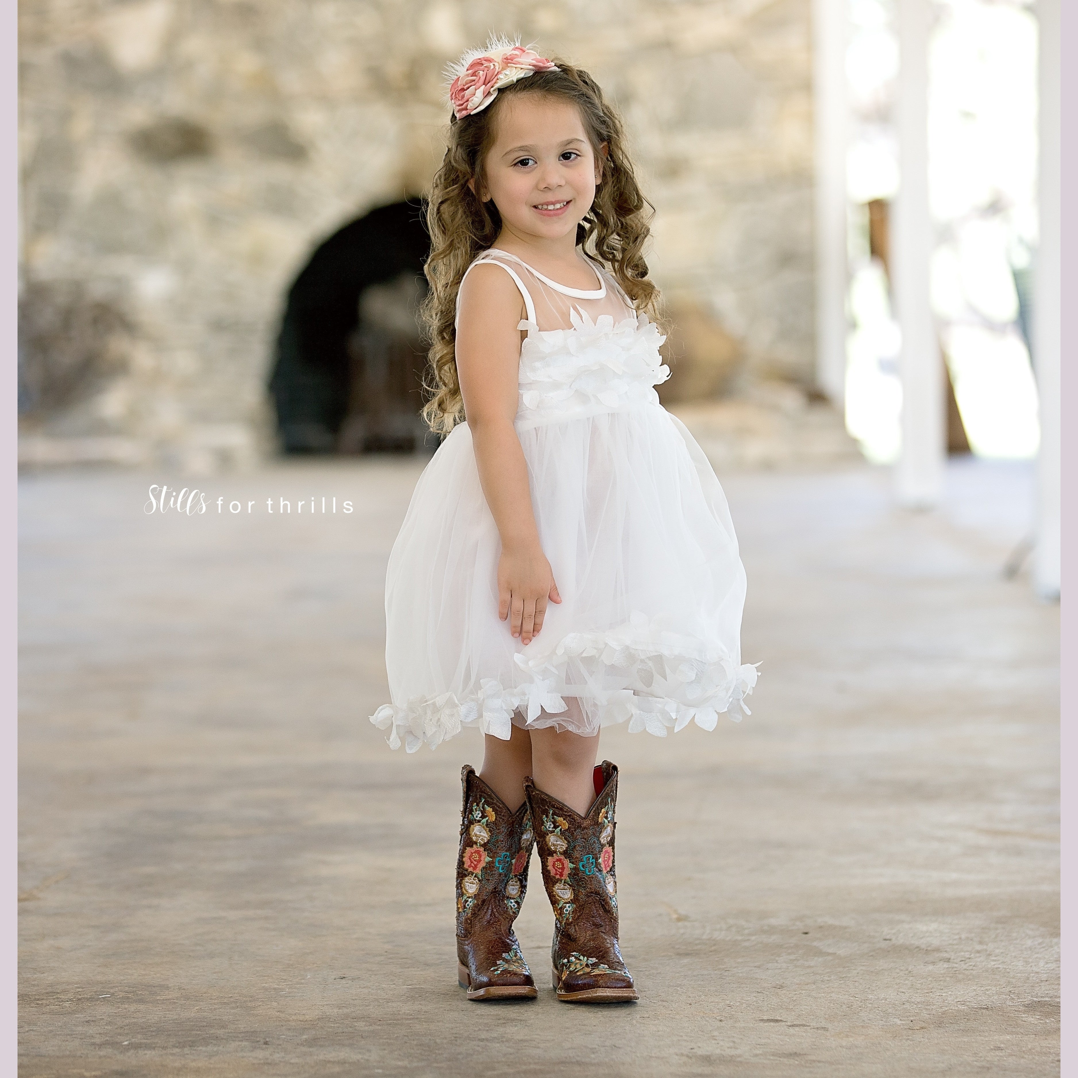 white floral burst girl and toddler dress flower girl