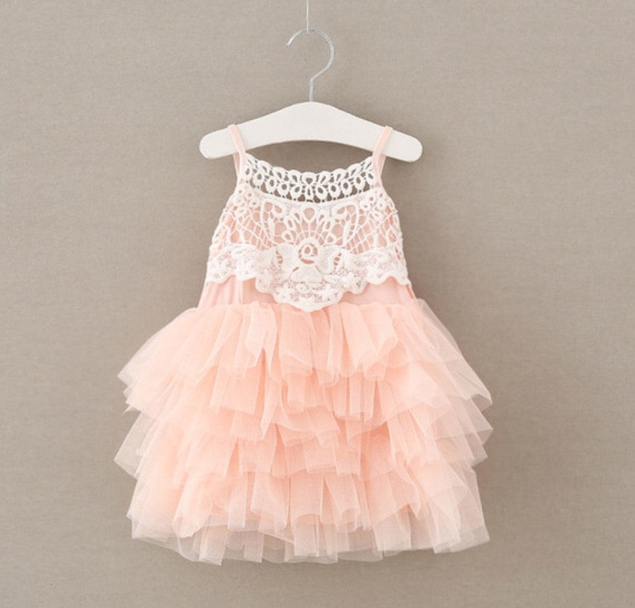 Pink in Lace Dress for Girl Birthdays and Toddlers