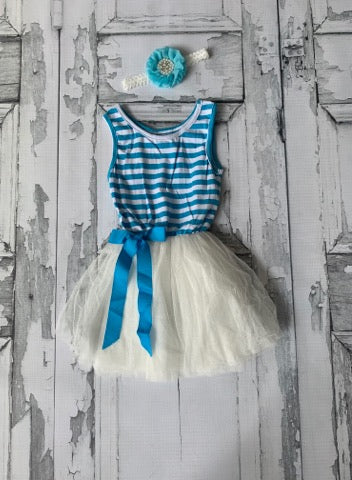 Teal stripe tulle dress