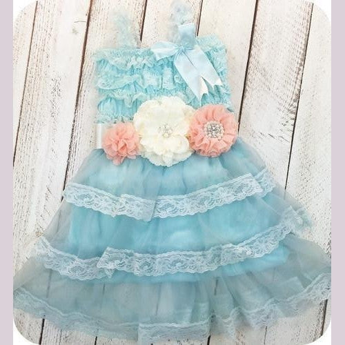 Ariel's Teal Girl And Toddler Lace Dress