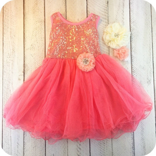 Ava's Coral Girl Birthday Dress - Marili Jean Girl's Clothing Boutique