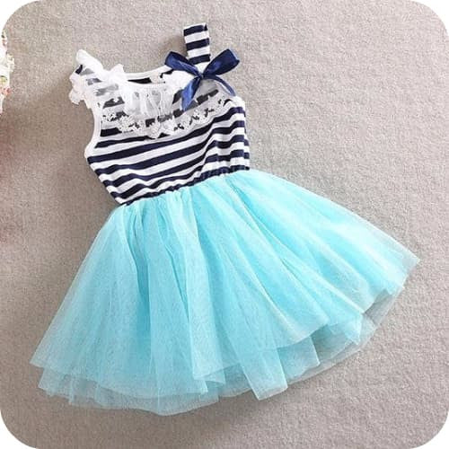Sailor Striped Teal Dress