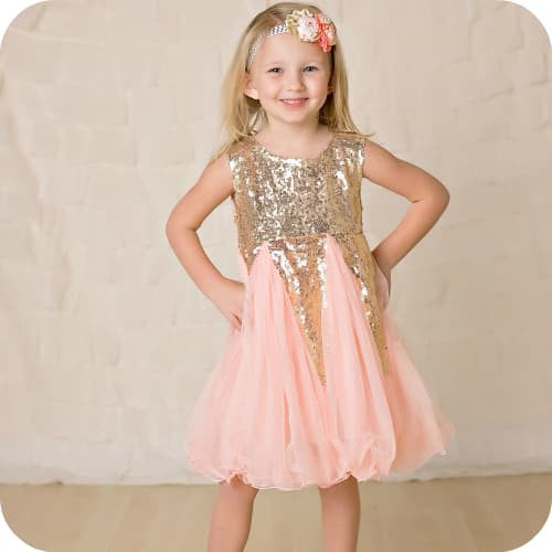 Pink Sequins Crown Dress - Marili Jean Girl's Clothing Boutique