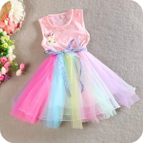 Pink Rainbow Tulle Dress - Marili Jean Girl's Clothing Boutique