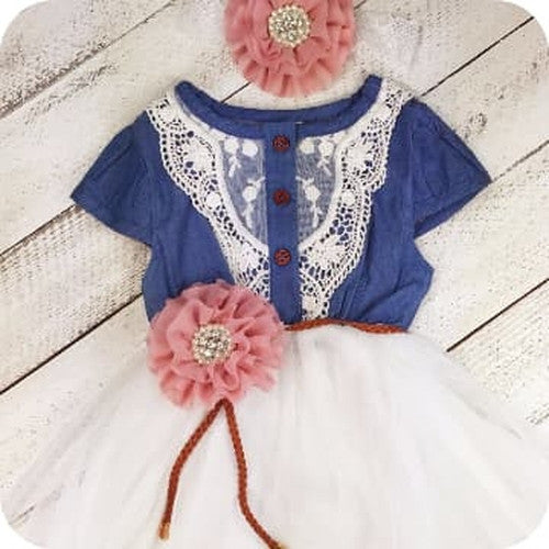 Denim in Lace Flower Girl Dress