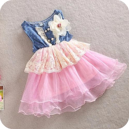 Eli's Denim Ruffle Pink Dress