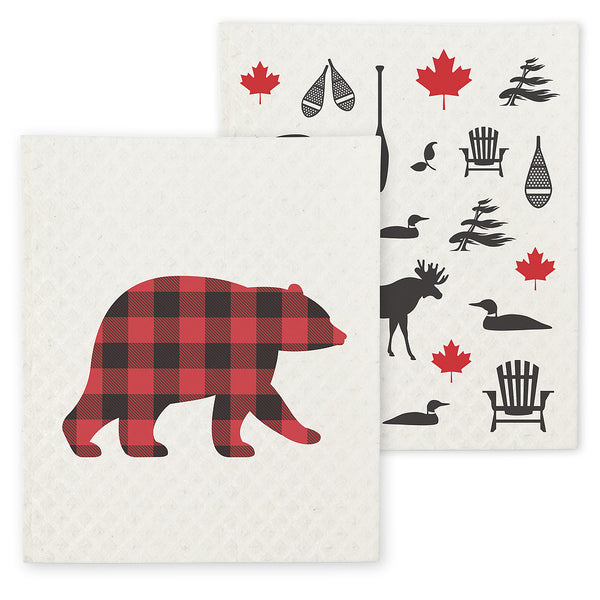 Bear & Icon Dishcloths. Set of 2