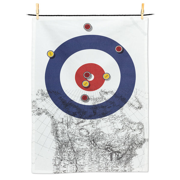 Curling House and Canada MapTea Towel