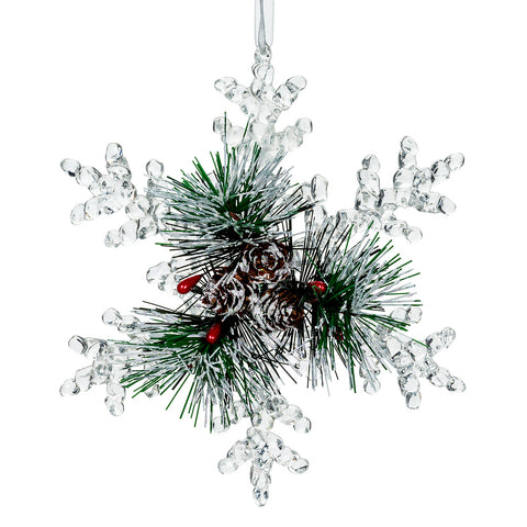 Large Snowflake with Pine Ornament