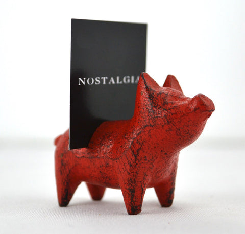 Pig Card Holder Red S/4