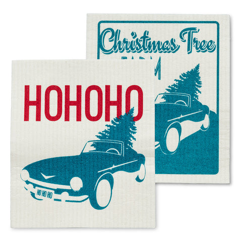 Vintage Car & Tree Dishcloths Set of 2