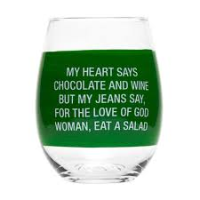 """Eat Salad"" Wine Glass"