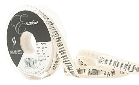 15mm Black Musical Note Print Ribbon