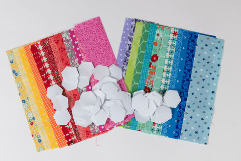 "100 x 1/2"" Hexagons Template Papers and Co-coordinating Fabrics"