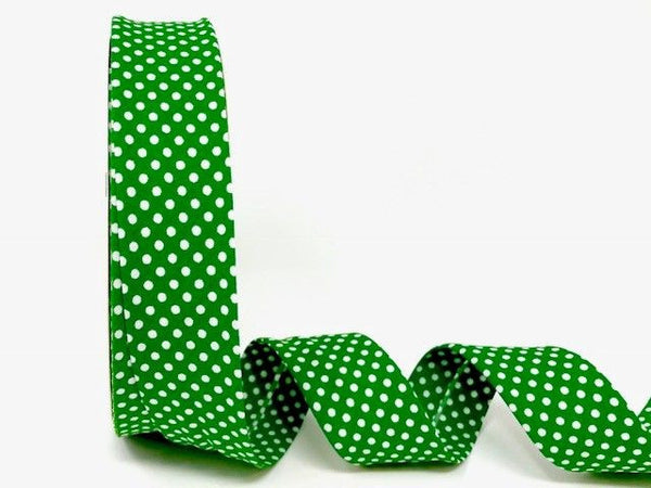 30mm Emerald Green with White Polka Dot Bias Binding
