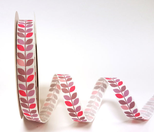 Variegated Pinks Leaf Vine Print on 16mm White Grosgrain Ribbon