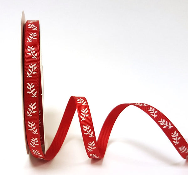 White Fern Print on 9mm Red Grosgrain Ribbon