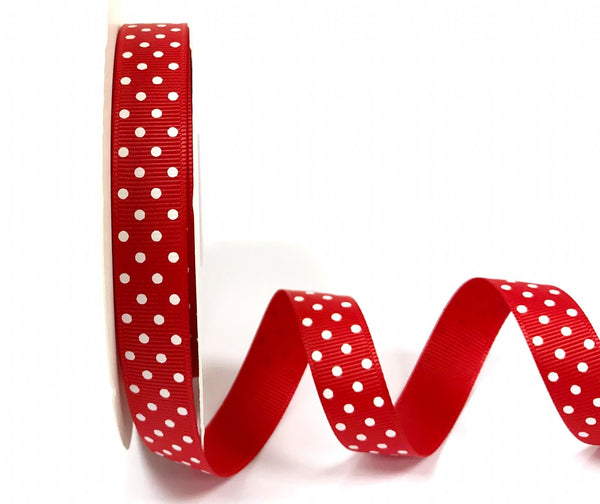 16mm Grosgrain Ribbon Red with White Polka Dots