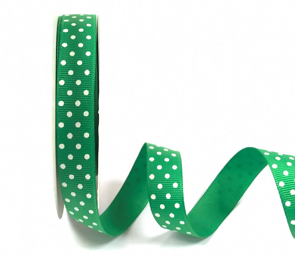 16mm Grosgrain Ribbon Emerald with White Polka Dots