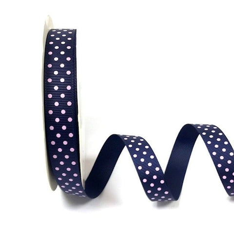 Navy 16mm Grosgrain Ribbon with Pink Polka Dots