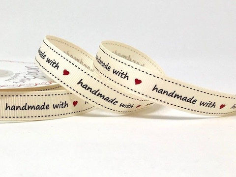 Handmade With Love Print 16mm Grosgrain Ribbon