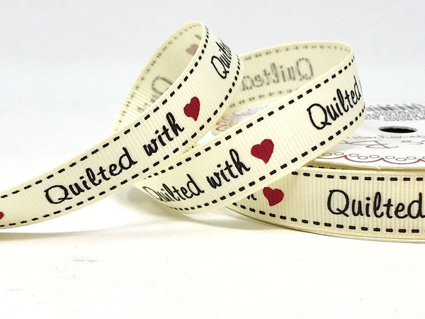 Quilted With Love Print 16mm Grosgrain Ribbon