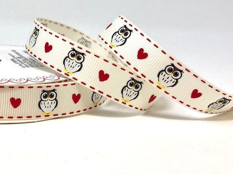 Black Owls & Heart Print 16mm Ivory Grosgrain Ribbon