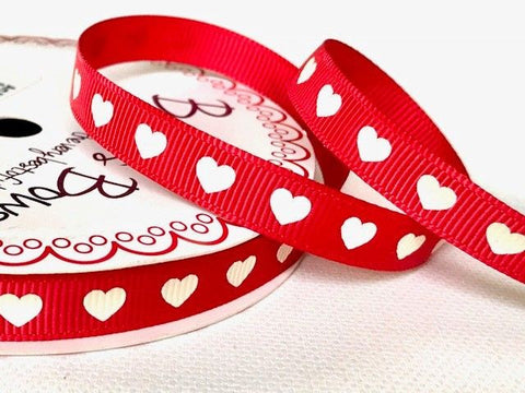 Ivory Heart Print on 9mm Red Grosgrain Ribbon