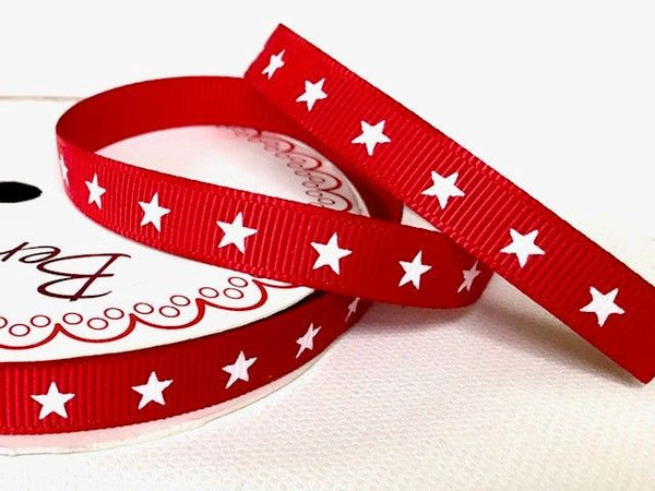 White Star Print on 9mm Red Grosgrain Ribbon