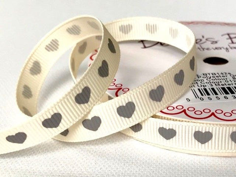 Grey Heart Print on 9mm Ivory Grosgrain Ribbon