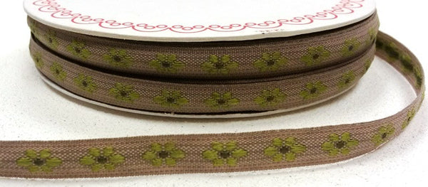 Green 9mm Woven Flower Forest Friends Ribbon