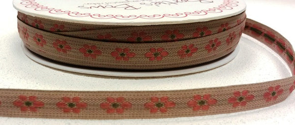 Pink 9mm Woven Flower Forest Friends Ribbon