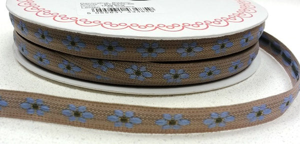 Blue 9mm Woven Flower Forest Friends Ribbon