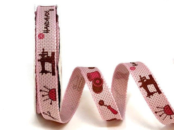 Pink Handmade Print 10mm Ribbon