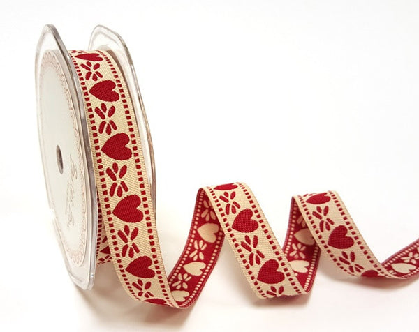 15mm Red & Cream Reversible Woven Heart