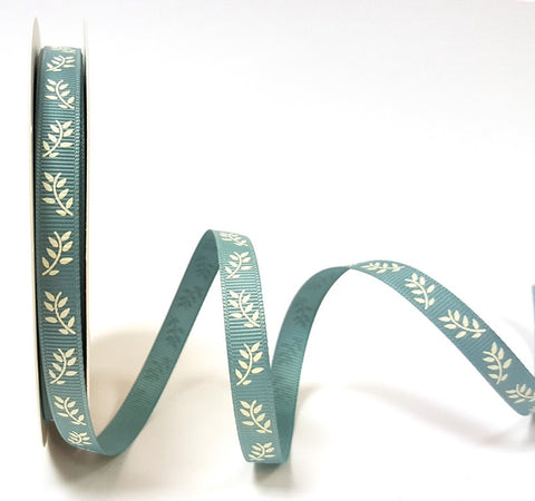 Ivory Fern Print on 9mm Sea Breeze Grosgrain