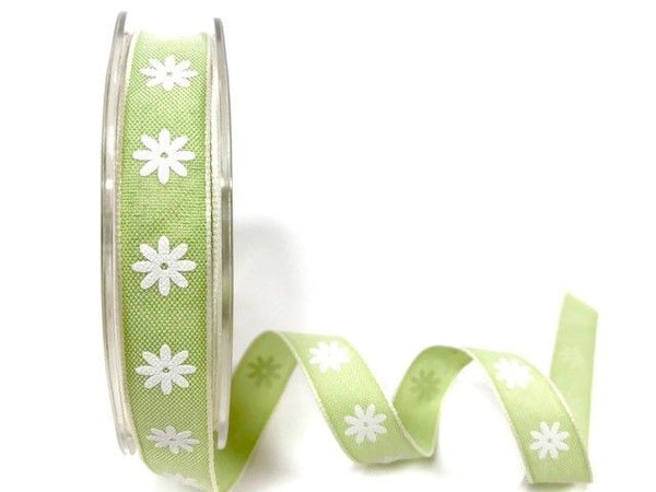 15mm Lime Daisy print ribbon