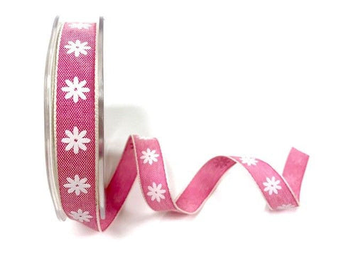15mm Raspberry Daisy print ribbon