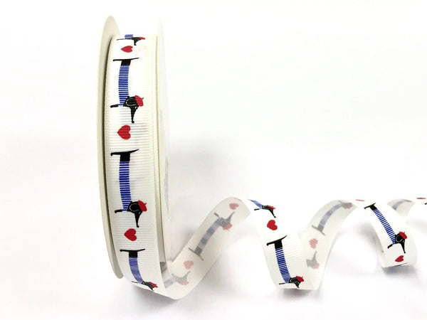 16mm Polyester Grosgrain Ribbon Dachshund