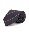 Royal Irish Poplin Brown and Blue Striped Tie