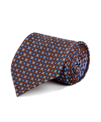 Burgundy and Blue Floral Silk Tie - Mr. Jenks