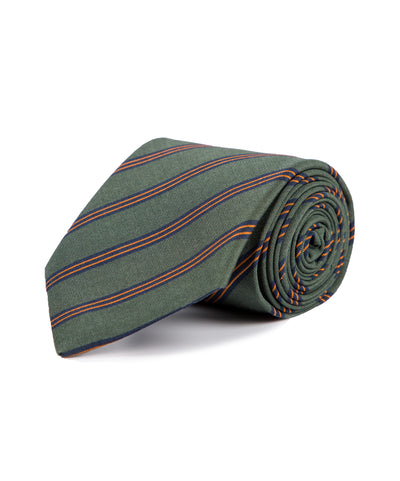 Royal Irish Poplin Green and Orange Striped Tie - Mr. Jenks