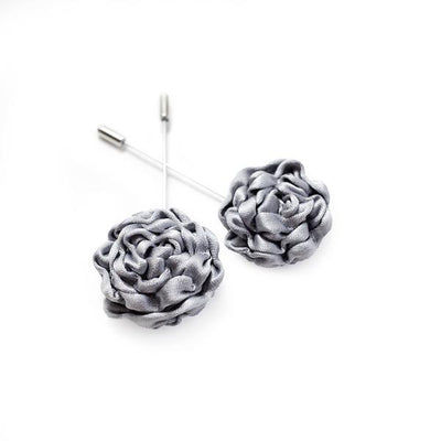 Dove Grey Silk Rose Lapel Pin - Mr. Jenks