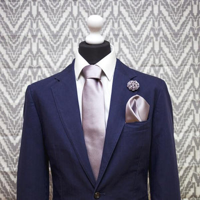 Lilac Grey Silk Rose Lapel Pin - Mr. Jenks