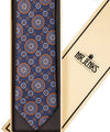 Classic Medallion Navy and Orange Silk Tie - Mr. Jenks