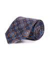 Classic Medallion Navy and Orange Silk Tie